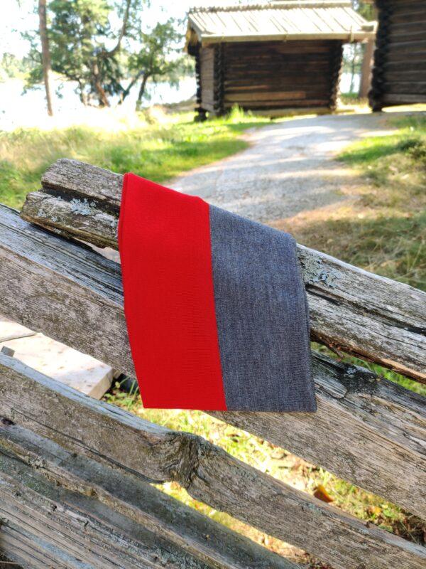 Tuubihuivi, kaksivärinen, harmaa-punainen