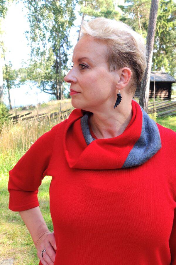 Tuubihuivi, harmaa-punainen