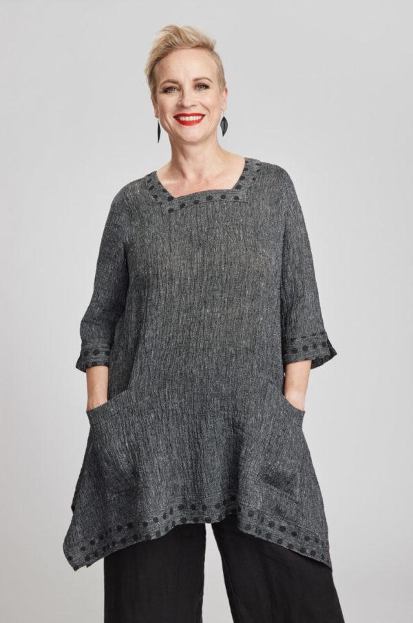 Saaga tunic, grey/black