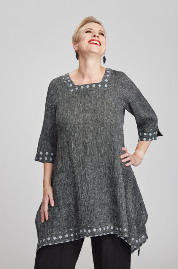 Saaga tunic, grey/white
