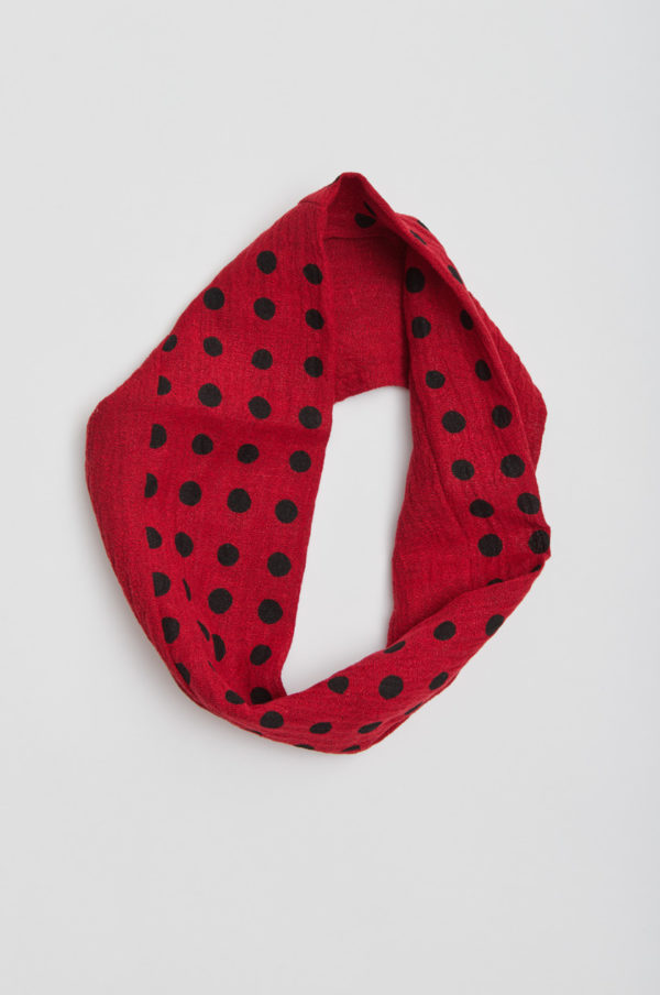 Tube scarf, dotted, red