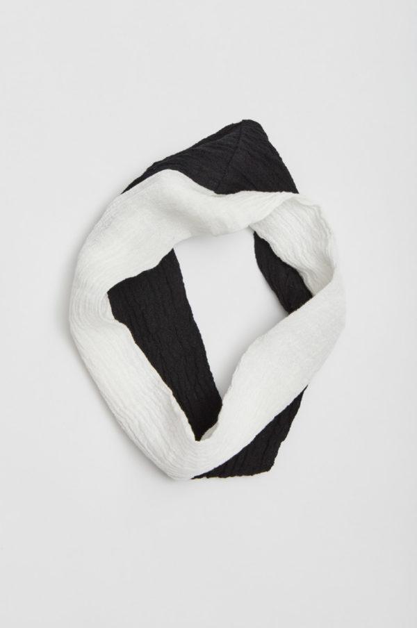 Tuubihuivi, kaksivärinen, musta/valkoinen