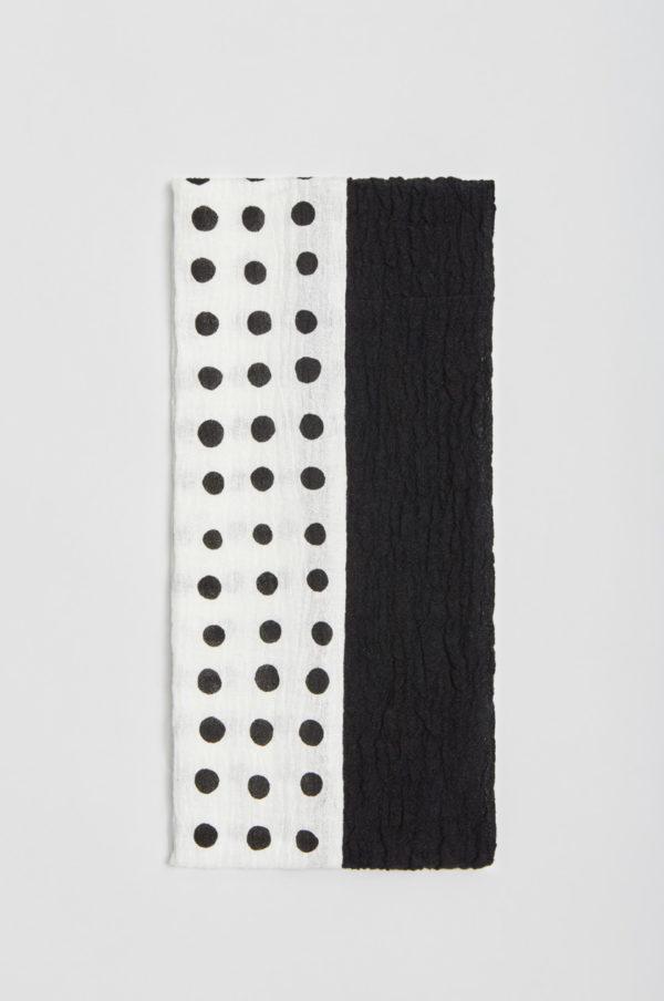 Tuubihuivi, pilkullinen, musta/valkoinen